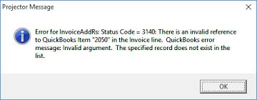 QuickBooks Error 3140 Error message Snapshot