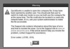 QuickBooks Error Code 6190 and 816 Snapshot