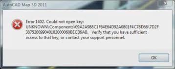 QuickBooks Error 1402 Error Message Snapshot