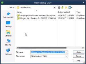 Restore a Backup Company File- Step 4 Snapshot