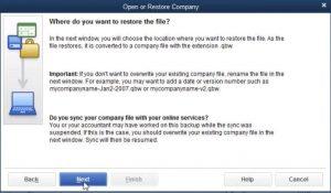 Restore a Backup Company File- Step 5 Snapshot