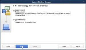 Restore a Backup Company File- Step 3 Snapshot
