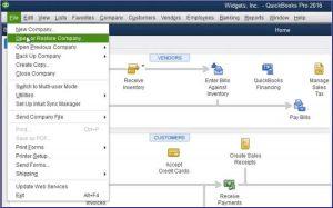 Restore a Backup Company File- Step 1 Snapshot