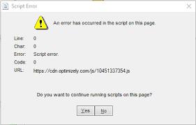 QuickBooks Script Error Snapshot