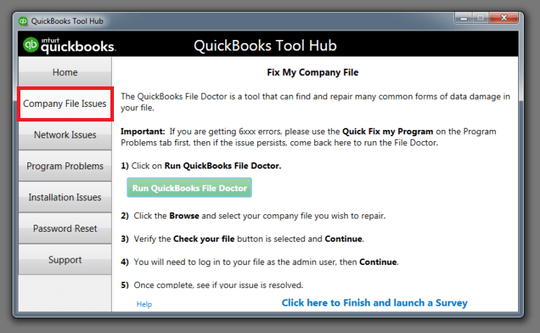 company file issue tabs