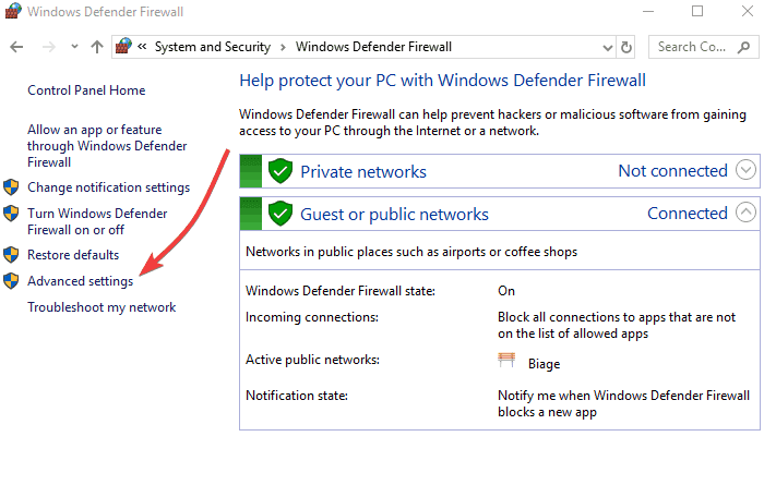 Configuration of Firewall and Antivirus Defender Snapshot