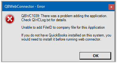QuickBooks Error QBWC1039