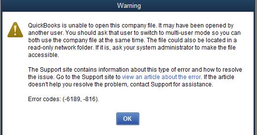 QuickBooks Error 6189, 816 Snapshot