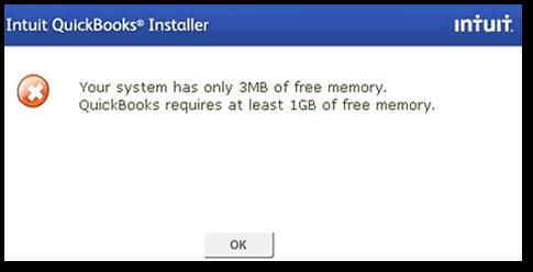 QuickBooks Error xxxMB Free Memory